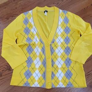 Yellow argyle cardigan J. Crew size Medium